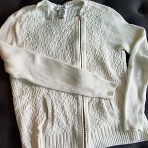 White House Black Market side zip cream sweater XL